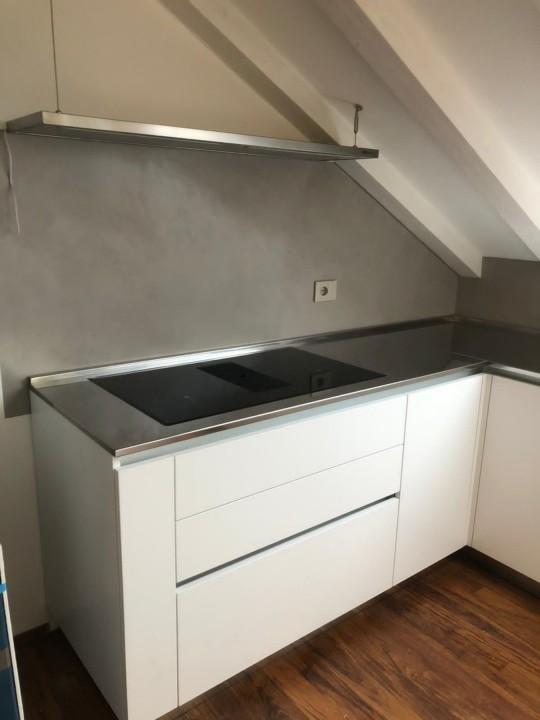 012 C177 Cucina in laminato bianco con top inox Steellart