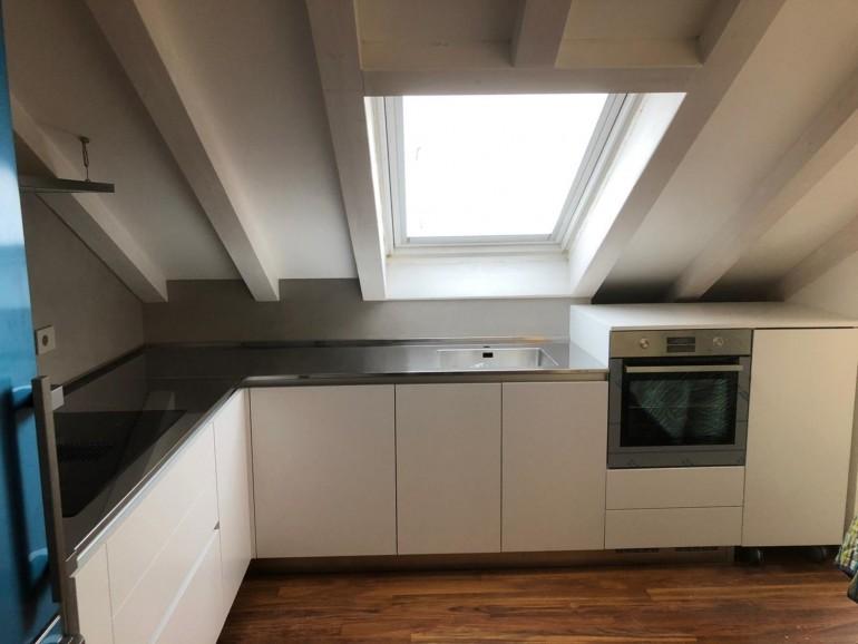 015 C177 Cucina in laminato bianco con top inox Steellart
