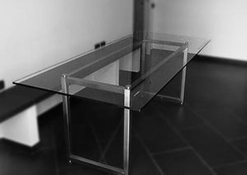 A tavolo in acciaio inox e cristallo einrichtung steellart