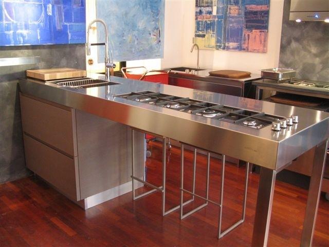 1194445158 C10 Stainless steel peninsula kitchen centre Steellart