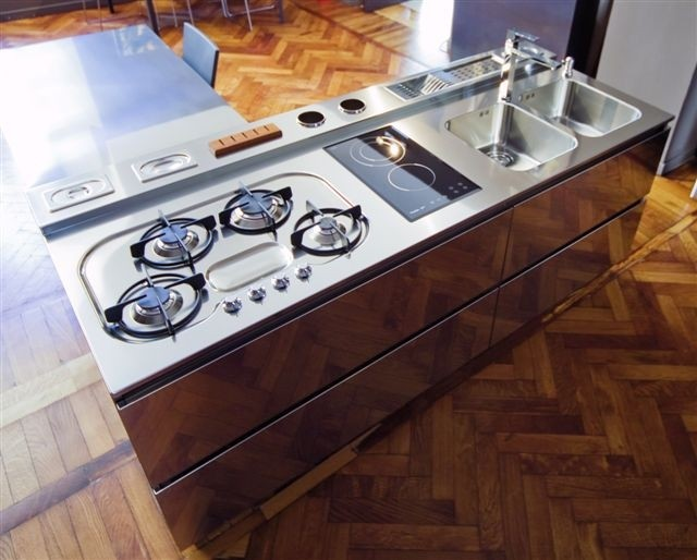 1285176719 C27 Stainless steel worktop width 210x82 cm Steellart