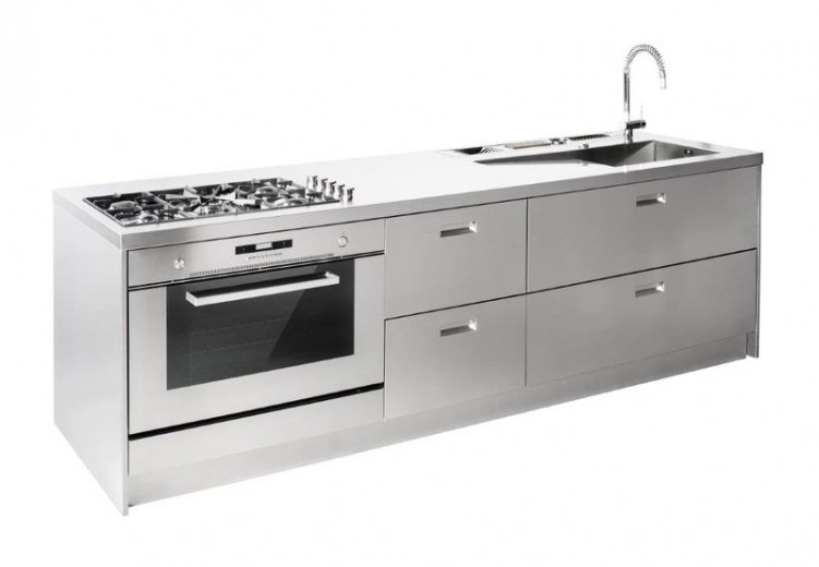 1394215494 C65 Full stainless steel linear kitchen centre Steellart