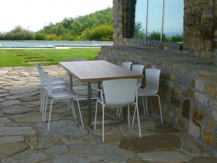 360 A13  wood  and  steel  table (  custom  made ) Steellart