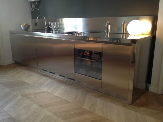 cucina in acciaio inox L354cm