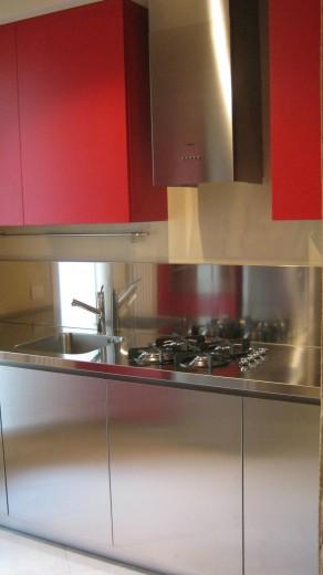 C25 cucina inox e laccatociliegia l 244 cucine in acciaio inox cucine di design cucine - Blocco cucina acciaio ...
