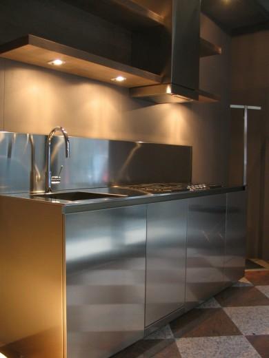 Cucina esposizione 2008 002 C 81  Blocco cucina in acciaio  inox  L 210 Steellart