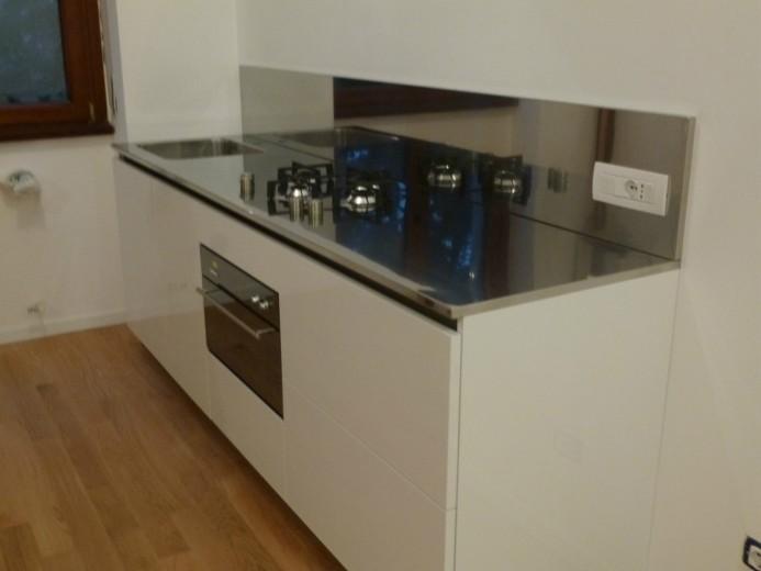 C57 blocco cucina inox e bianco l 255 cm cucine in acciaio inox cucine di design cucine - Blocco cucina acciaio ...