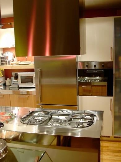 Gianfranco1 C89 Peninsula kitchen centre with stainless steel worktop Steellart