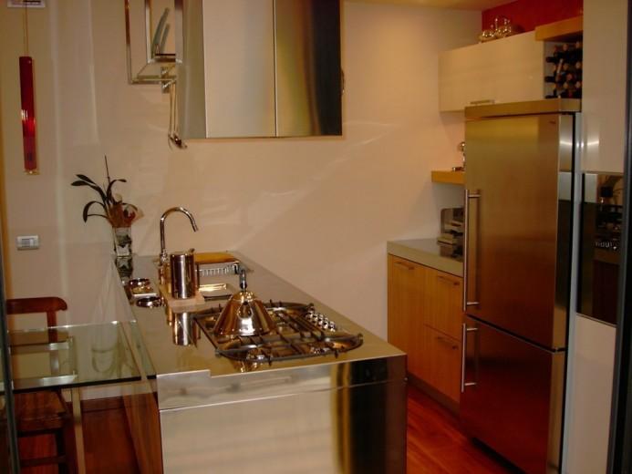 Gianfranco2 C89 Peninsula kitchen centre with stainless steel worktop Steellart