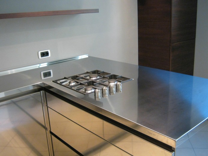 Rossi cucina 011 C75 U-shaped wood/stainless steel kitchen Steellart