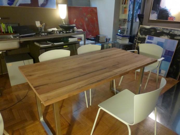Tavolo allungabile inox e legno allungato altra vista . ID 62 Tavolo inox/legno allungabile Steellart