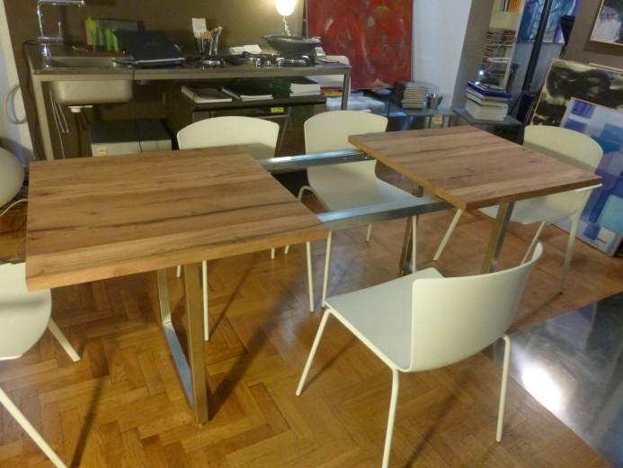Tavolo allungabile inox legno allungo fase 2 ID 62 Tavolo inox/legno allungabile Steellart