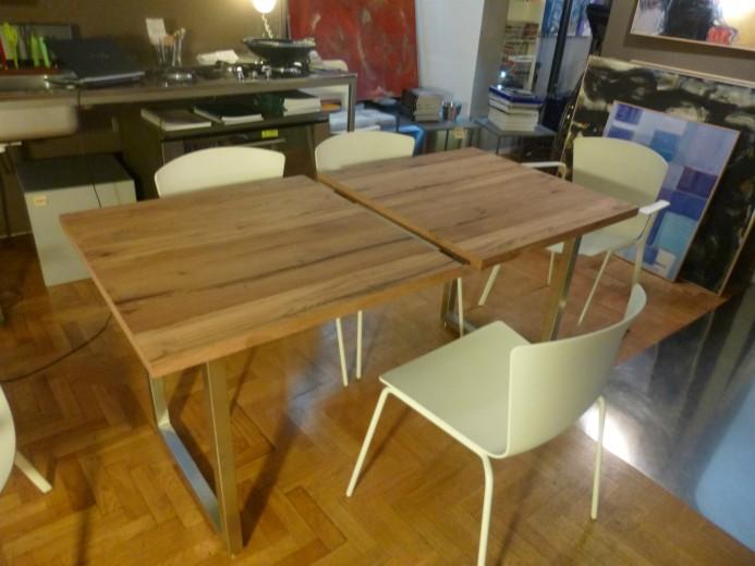 Tavolo allungabile inox legno fase 1 allungo ID 62 Tavolo inox/legno allungabile Steellart