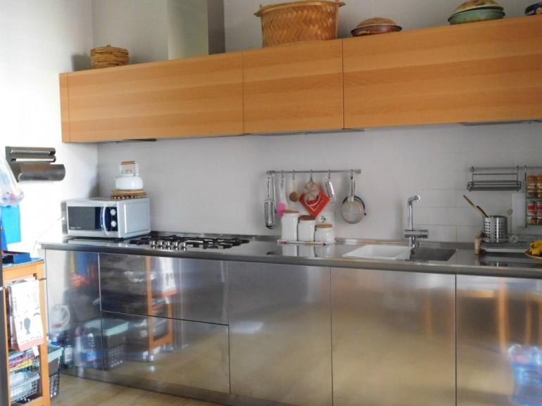 C126 Cucina In Acciaio Inox E Legno L320cm Cucine In Acciaio Cucine Di Design Cucine Moderne Steellart Piacenza