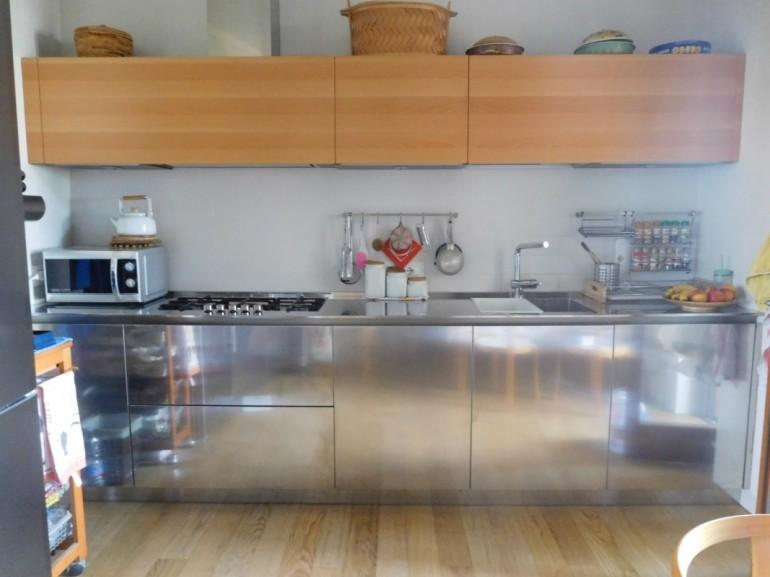C126 blocco cucina in acciaio inox e legno L320cm