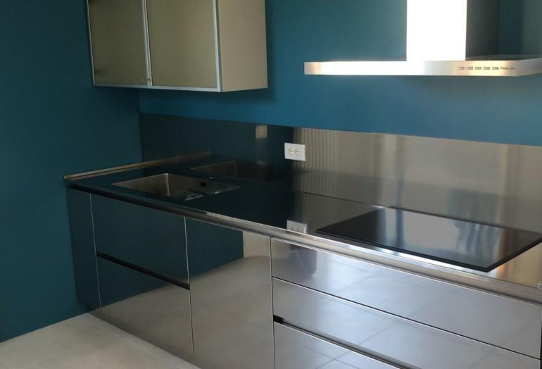 mod2 C183 Cucina in acciaio inox e rovere Steellart