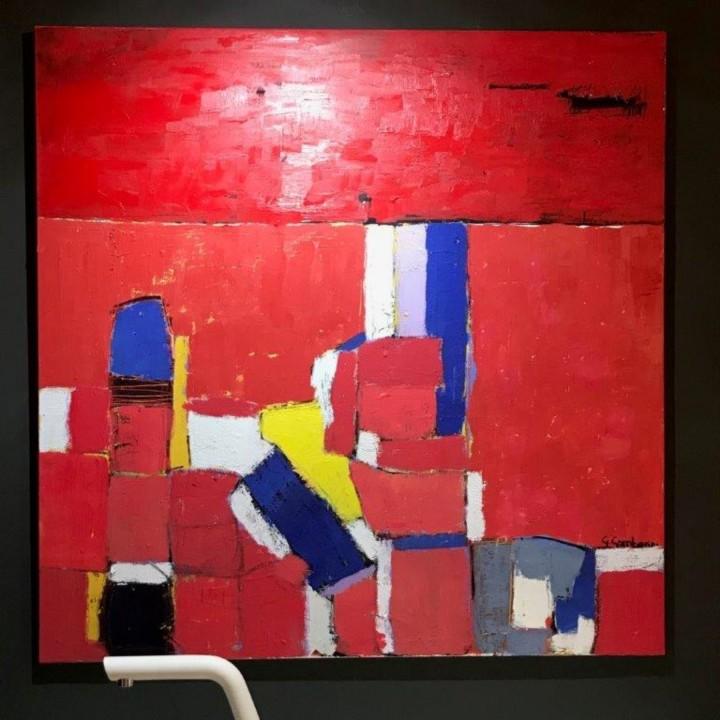 red in the evening rid  Red in the evening olio su tela 100x100cm Steellart
