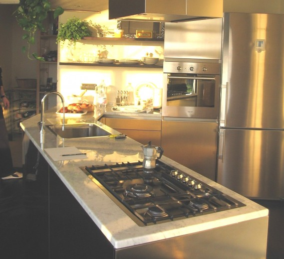 santi filotop rib 109 C66 Peninsula corner kitchen Steellart